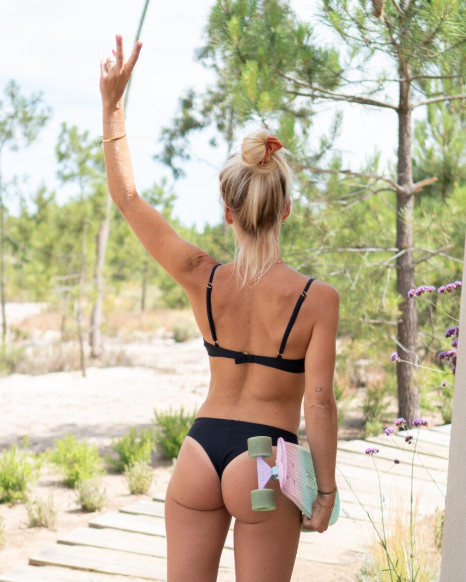 Plain black bikini with high waisted bikini bottoms