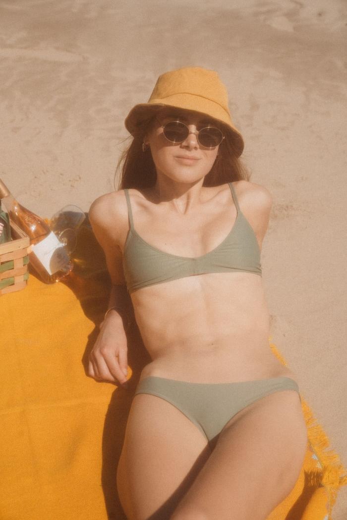 Low waist bikini bottom cape town green and bikini top Kim green