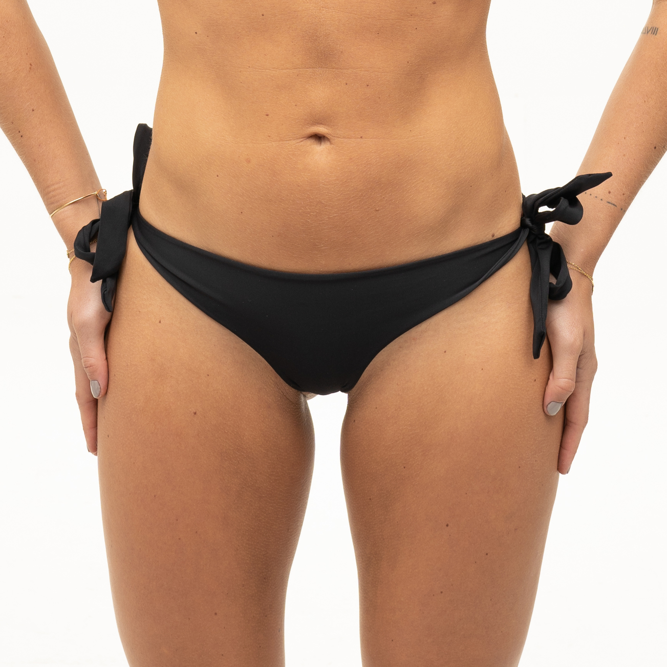Seamless black bikini bottom with bows