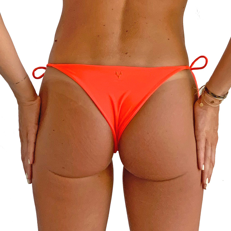 Orange bikini bottoms with straps