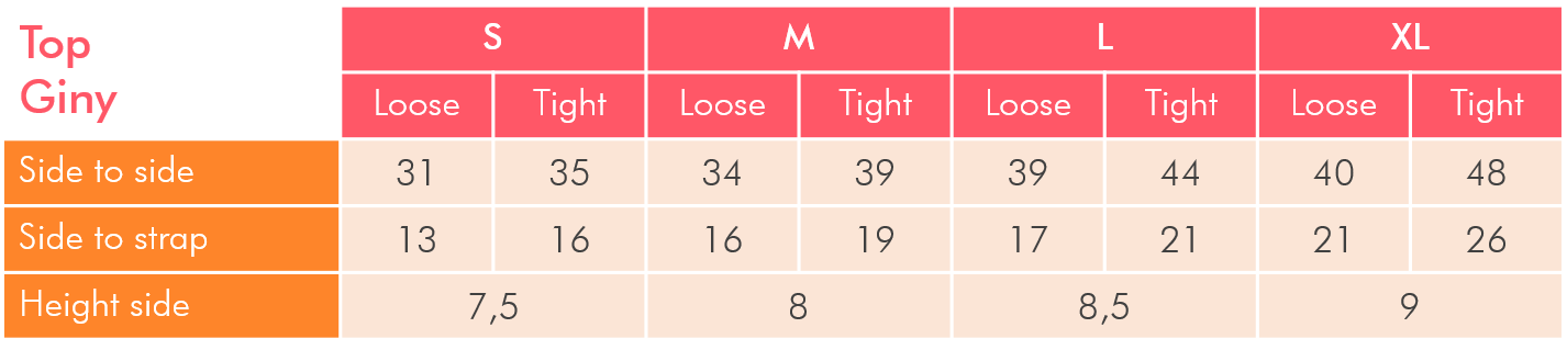 Sizing table for large breast bikini