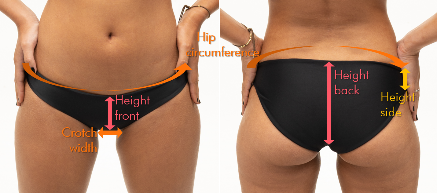 Black bikini bottoms fitting support