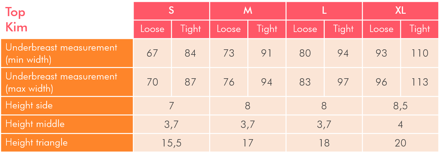 Sizing table for push up bikini