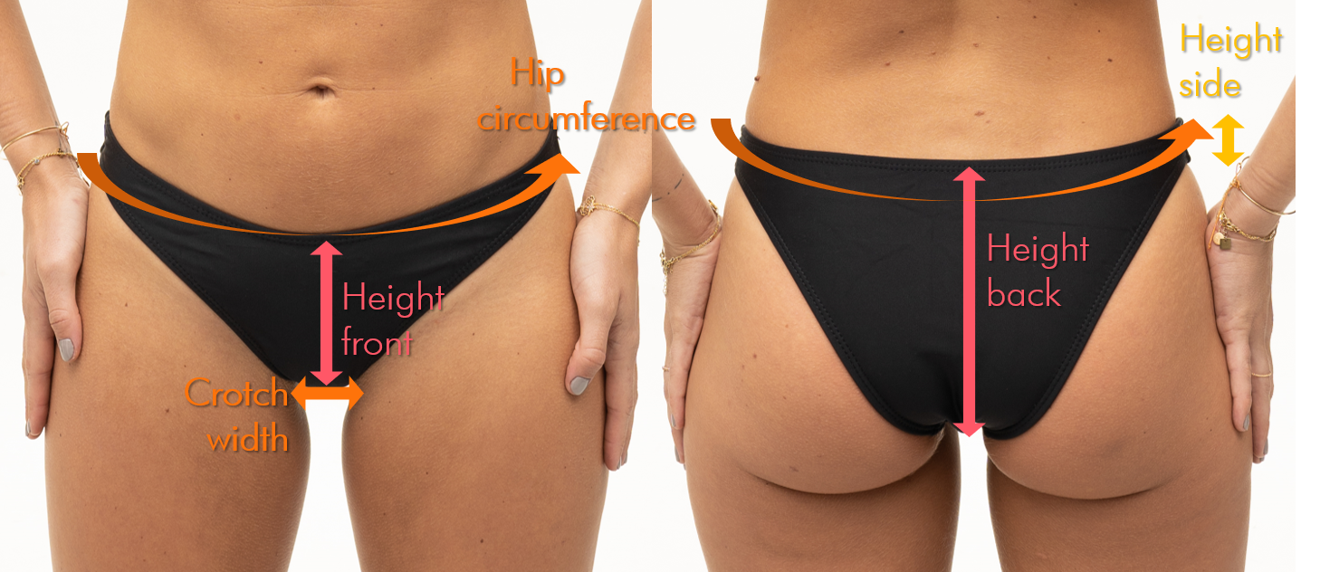 High rise bikini bottoms fitting support