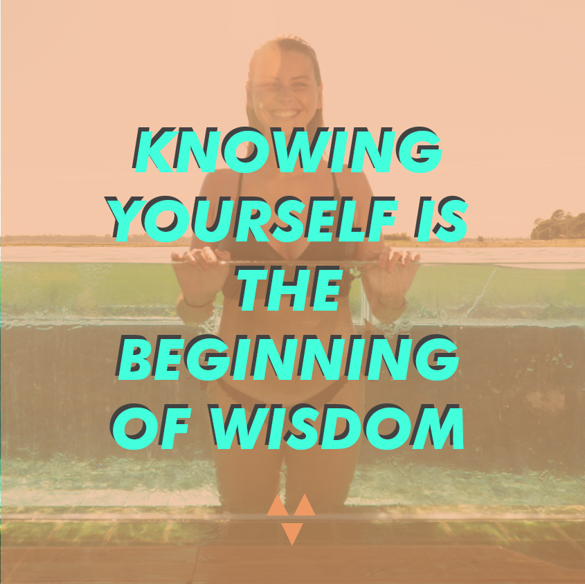 "picture of happy girl in a bikini with a quote from aristotle saying ""knowing yourself is the beginning of wisdom"""