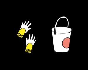 icon sauber sache eimer und handschuhe