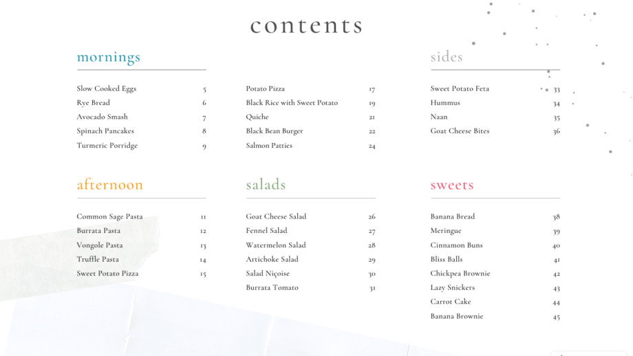 table of content cook e book cravings
