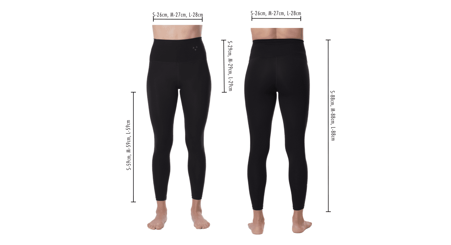 Size guide for sustainable performance leggins made from bio plastic
