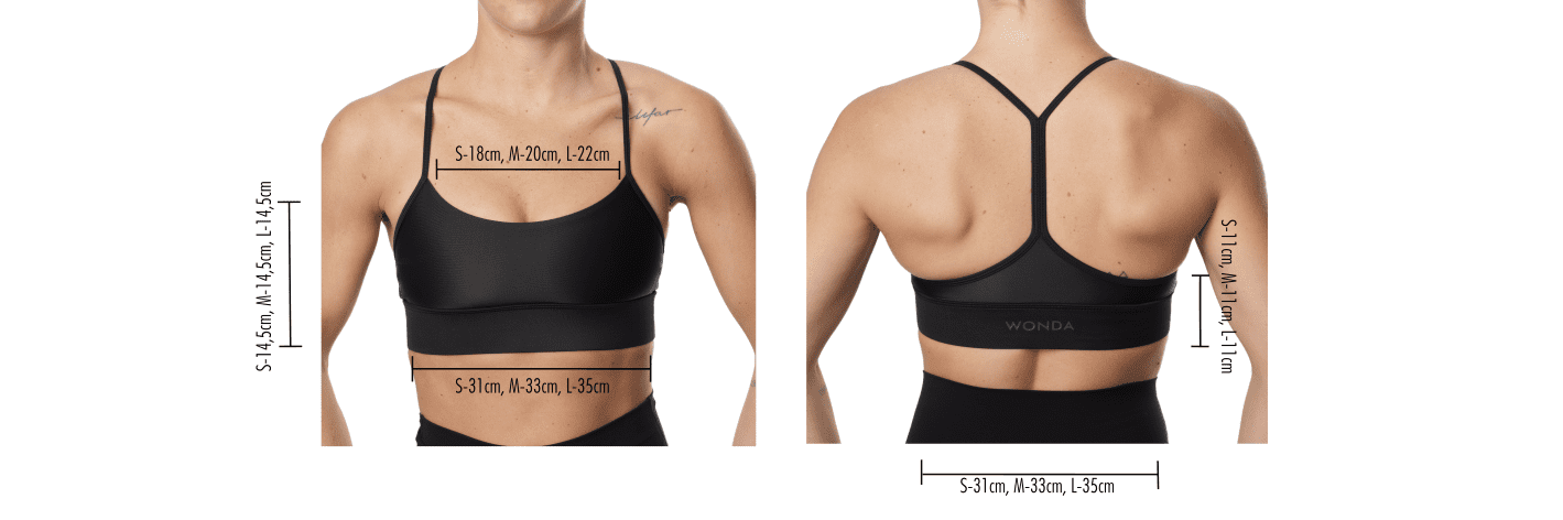 Sizing table sustainable sports bra Amanda made from recycled ocean plastic
