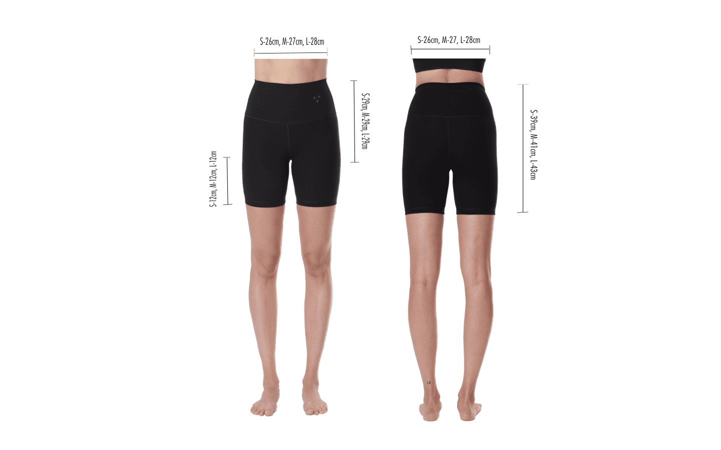 Size guide for sustainable cycling shorts made from bio plastic